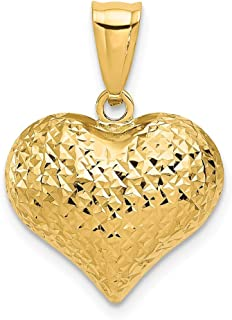 14k Yellow Gold Textured 3 D Heart Pendant Charm Necklace Love Puffed Fine Jewelry Gifts For Women For Her