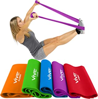 Vive Flat Resistance Band (5 Piece Set) - Elastic Exercise Equipment - Straight Stretching Fitness Training for Full Body, Leg, Crossfit, PT, Yoga Stretch, Rehab Therapy - Home Gym for Men & Women