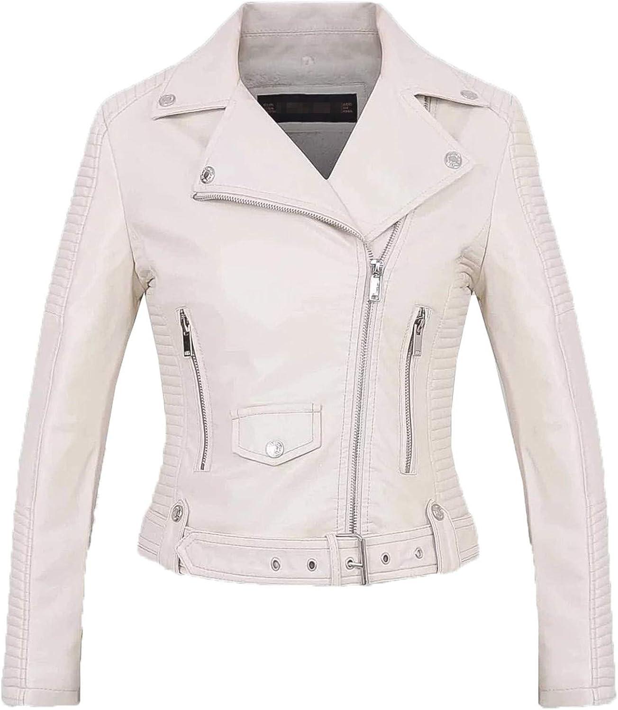 Yiqinyuan Faux Leather PU Jacket Women Spring Autumn Fashion Motorcycle Jacket Black Leather Coats Outerwear Coat