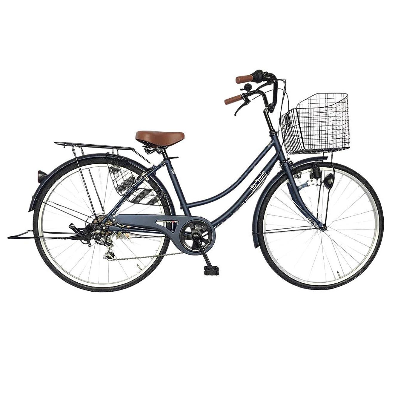 薬用ダメージスラムサントラスト(suntrust) 自転車 ママチャリ 26インチ 6段ギア ネイビー 青 dixhuit かご 鍵 ライト 標準搭載