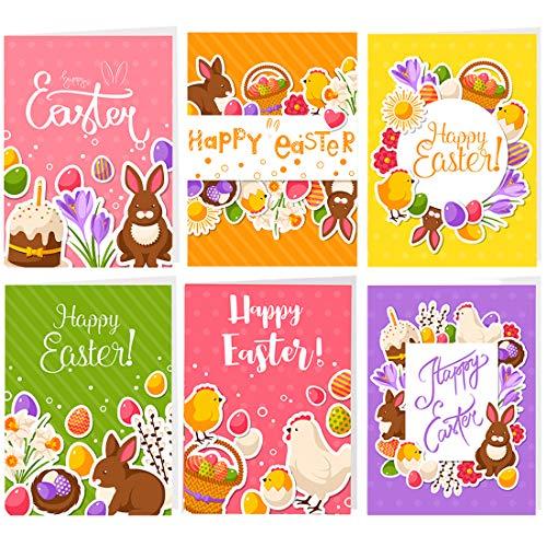 Osterkarten Set mit Umschlag, 12 Postkarten zu Ostern, Schön Grußkarten Klappkarten Unterschiedliche Motive je 2 Stück