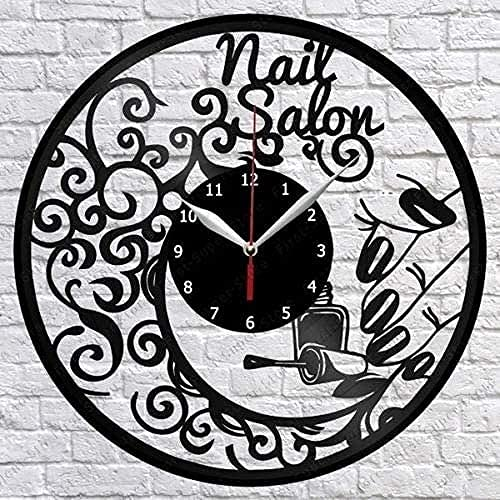 hhhjjj Moda para Mujer Salón de uñas Disco de Vinilo Reloj de Pared Decoración de Ventilador Decoración de salón de Arte de Pared Retro Los Mejores Regalos para Mujeres