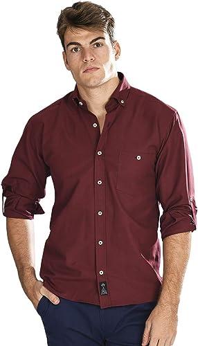 Camisa Oxford Manga Larga de Hombre en Granate: Amazon.es: Ropa