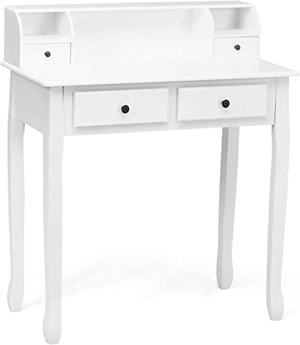 discount Giantex Writing Desk with 4 lowest Drawers, Removable Floating Organizer 2-Tier Mission Home Computer Vanity Desk 2021 for Apartment Small Space, White sale