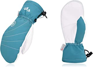 Vgo -4℉or above 3M Thinsulate G80 Lined Ladies' Leather Ski Gloves(1Pair, Light Blue, SF-GA2443FW)
