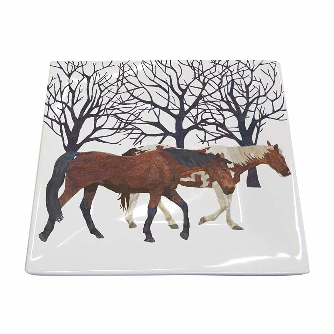 Paperproducts Design New Bone China Small Square Plate Featuring The Distinctive Winter Horses Design, 5.75 x 5.75