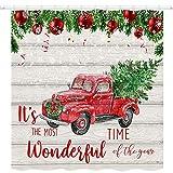 JAWO Duschvorhang, weihnachtliche Tannenzweige mit roter Kugel & Schneeflocke Duschvorhänge, Retro roter LKW mit Weihnachtsbaum auf Schnee, Polyester-Stoff Badvorhänge mit Haken 175 x 188 cm