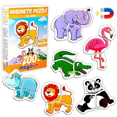 Magnetica puzzle 3 años MAGDUM Animales ZOO - 6 Grandes Puzzle bebe 1 año - Juguetes magnéticos - Imanes nevera niños - Juguetes niños 3 años educativos - Letras magneticas niños - Imanes niños