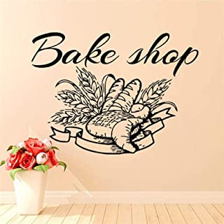 kjyab Wall Stickers Murals Bread Text Carved Poster Stickers Restaurant Kitchen Bakery Cake Room Glass Window Advertising Decorative Wall Stickers