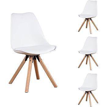 ZMALL Set di 4 sedie Tulip da pranzo con gambe in legno