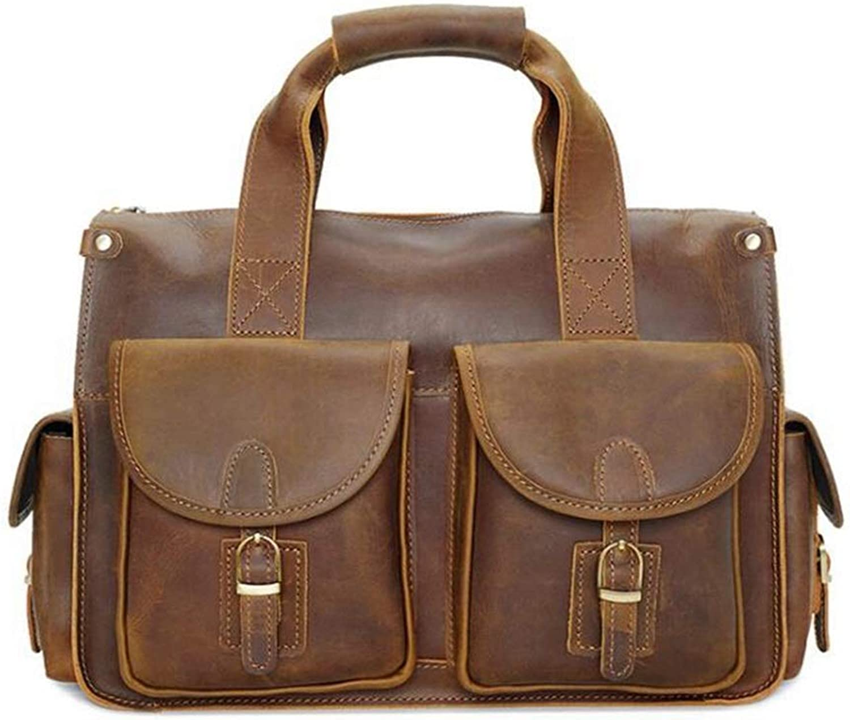 FELICIOO Herren Echtleder Aktentasche Tote Handtasche Schultertasche Umhängetasche für Laptop MacBook (Farbe   Light Gelb) B07N6BFMXJ