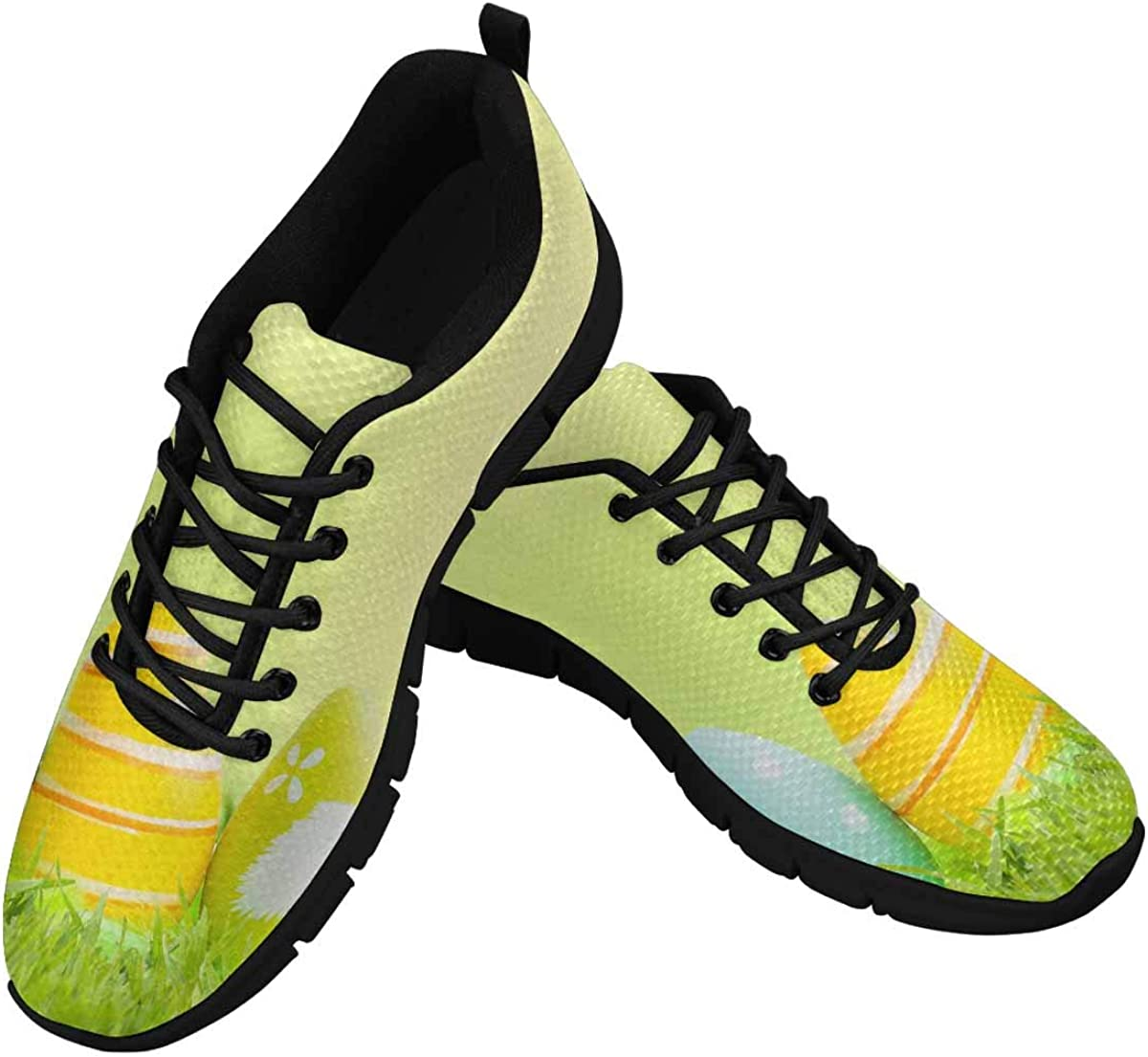 InterestPrint Green Grass, Easter Eggs Women's Athletic Walking Shoes Breathe Comfort Mesh