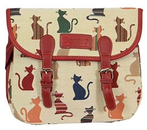 New Signare Tapestry Women Messenger Satchel Bag (Cheeky Cat)
