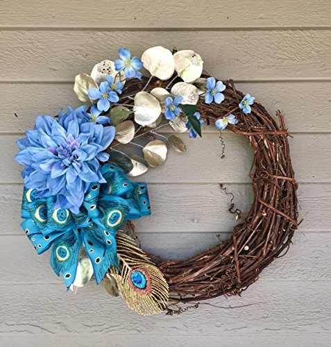 Year Round Turquoise Peacock Wreath with Optional Monogram