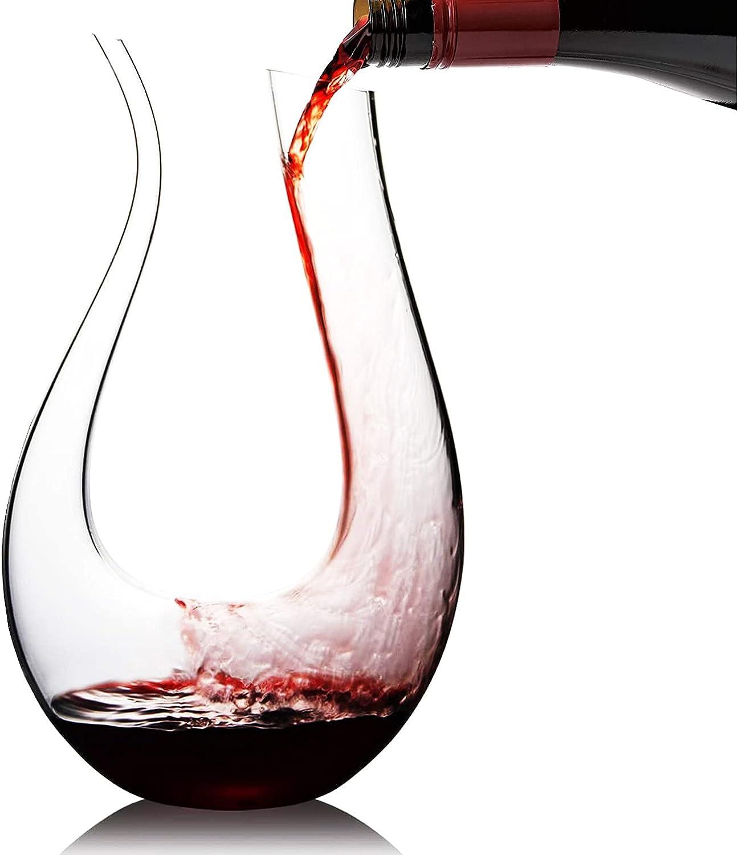 Cooko Decantador de Vino, Jarra de vino Soplada a Mano, Aireador de Vino sin Plomo, Regalo Clásico para Respirar Vino, Accesorios para Vino 1500 ml