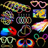 KarberDark Glowstick, (609 Pcs Total) 240 Glow Sticks Bulk 7 Colour and Connectors for Caps...