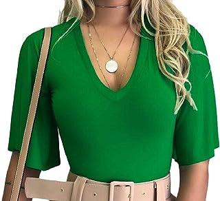 Keaac 女性Vネックフレアスリーブトップブラウスカジュアルスリムベルスリーブ固体シャツ