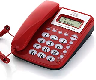 JJJJD Wired Telephone Corded Desk Telephone with Speakerphone, Basic Calculater and Caller ID, Red