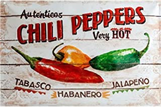 YOMIA Tin Metal Signs Wall Plaques Metal Picture Prints Chili Peppers Retro Posters Decorations Bar Club Wall Home Wall Stickers Restaurant,Dining Hall