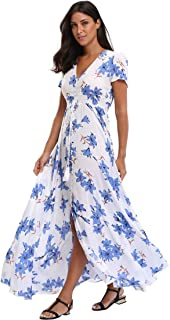 Women's Floral Maxi Dress Summer Button Up Split Beach Dress Long Swing Flowy Party Boho Dresses