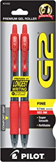 PILOT G2 Premium Refillable & Retractable Rolling Ball Gel Pens, Fine Point, Red Ink, 2-Pack (31033)