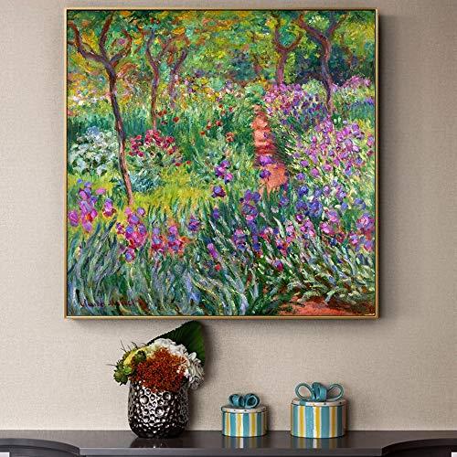 FANYUEART Monet Garden Leinwandbilder Berühmte Blumen Bilder Poster und Drucke Leinwand Wandkunst für Wohnzimmer Dekorationen 50x50cm 20'x20 (Rahmenlos)