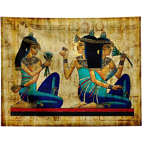 """Ancient Egyptian Papyrus Tapestry Wall Hanging,Old Egyptian Parchment Wall Background,Egyptian Queen Egypt Women Wall Tapestry for Bedroom Living Room,Retro Wall Art Backdrop Extra Large 90"""" x 72"""""""