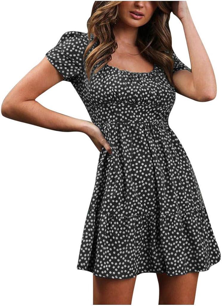 Masbird Summer Dress for Women,Summer Ruffle Short Sleeves Mini Dress Leopard Print Loose Ruffle Short Dress Beach Dresses