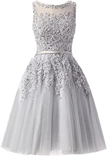 Women's Knee Length Tulle Lace Appliques Hollow Homecoming Dress