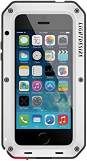 iPhone 5 SE Case,Meta Aluminum Alloy Protective lLIGHTDESIRE Extreme Water Resistant Shockproof Military Bumper Heavy Duty Cover Shell - Silver