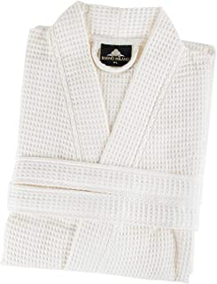 Bagno Milano Womens Waffle-Knit Bathrobe – Lightweight Spa Robe, Made in Turkey (Cream, Large)