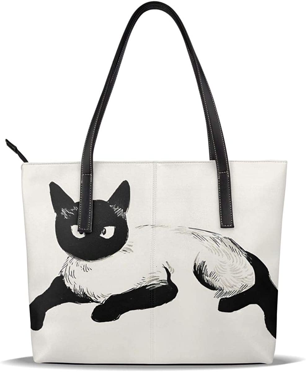 Black And Manufacturer regenerated product White Cat Cute Pet Pattern Leather Ca Max 88% OFF Pu Printed Quiet
