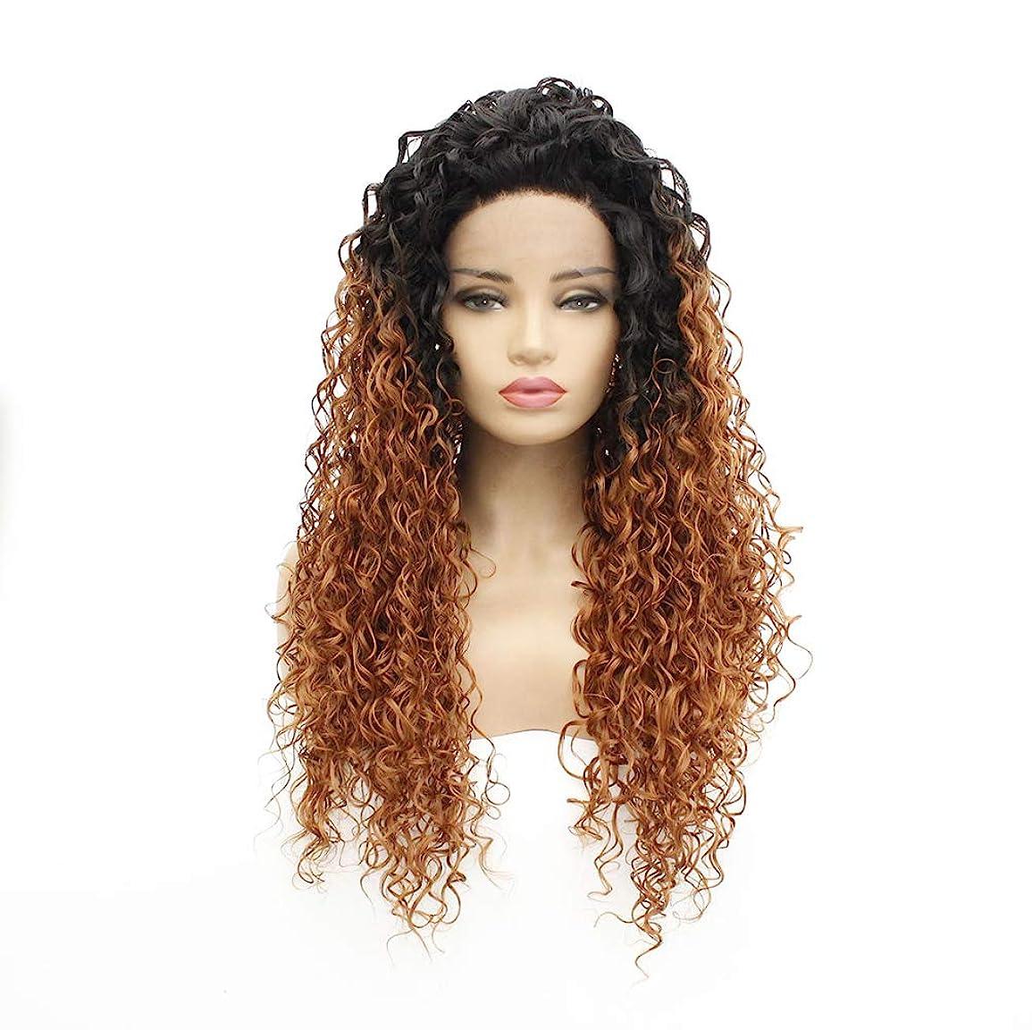散髪無人警告女性150密度フロントレースかつらブラジルのremy耐熱繊維人工毛の赤ん坊の毛髪黒グラデーションブラウン