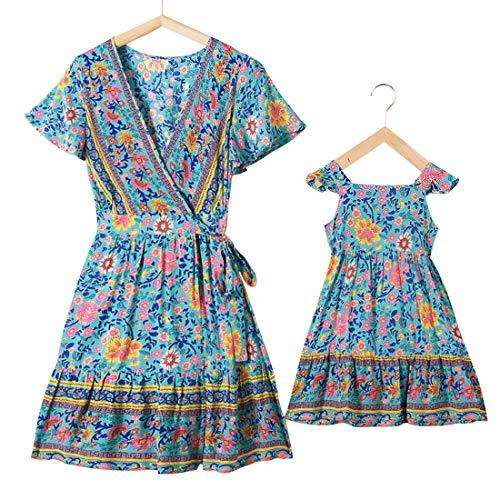 PopReal Mommy and Me Dresses Boho Casual Maxi Dress Summer Short Dress V Neck Wrap Floral Print Short Sleeve