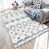WQ-BBB Fácil de almacenar Estilo Retro Gris alfombras Infantiles sin Pelo Beige Negro alfombraspara Mesa Salon Pasillo jarapas 160X200cm