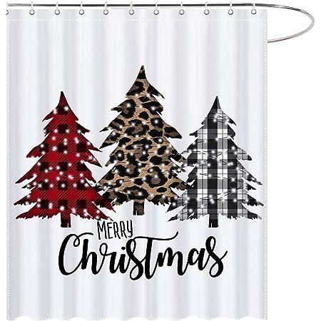 Details about  /Christmas Eve Retro Street Xmas Trees Lights Shower Curtain Set Bathroom Decor