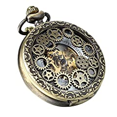 "Avaner Steampunk Retro Half Hunter Copper Gear Skeleton Hand Wind Mechanical Roman/Arabic Numeral Analog Display Pocket Watch with 14""Chain (Brown) #1"