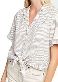 French Connection Laiche Striped Tie-Front Shirt Linen White Size 4