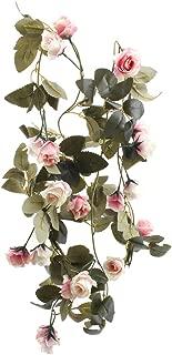 Flojery 6.8 Ft Silk Flower Vines for Wedding,Hanging Rose Garland  Home Decor,Artificial Rose Vine for Party(Pack of 2)(Light Pink)
