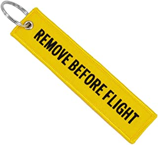 Remove Before Flight Key Chain Embroidery Key Ring Key Finder for Cars Aviation Tag Key Chain Small Business Gift - Yellow