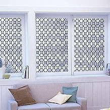 DUOFIRE Decorative Film Privacy Window Film Stained Glass Film No Glue Anti-UV Removable Window Cling Non-Adhesive Window Privacy Film D95010, (35.4in. x 78.7in.) 90cm x 200cm