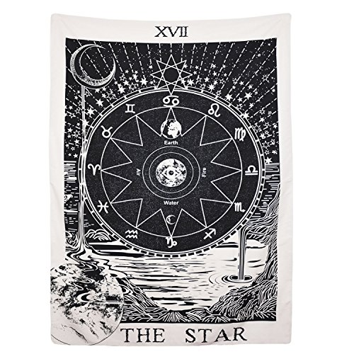 BLEUM CADE Tarot Tapestry The Moon The Star The Sun Tapestry Medieval Europe Divination Tapestry Wall Hanging Tapestries Mysterious Wall Tapestry Home Decor (The Star 51×59 Inches)