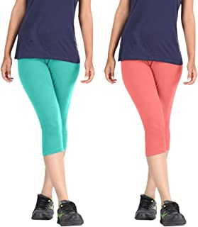 Rooliums Brand Factory Outlet Super Fine Cotton Capri Leggings (Pack of 2) Turquoise and Baby Pink - Free Size