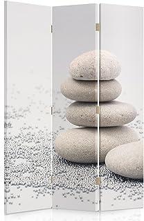 Feeby Frames Biombo Impreso Sobre Lona, tabique Decorativo para Habitaciones, a una Cara, de 3 Piezas (110x150 cm), GUIJARROS, Beige, Gris