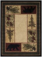Rustic Lodge Black Bear Area Rug