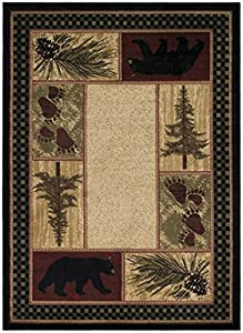 Rustic Lodge Black Bear Area Rug