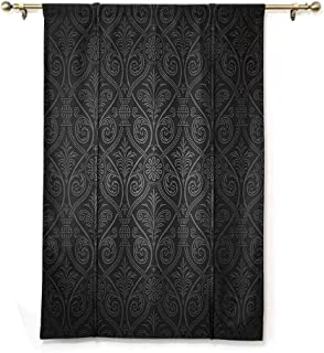 SEMZUXCVO Room Dark Black Insulated Roman Blind Damask Antique Baroque Pattern with Mild Ombre Shade Gothic Victorian Venetian Style Privacy Protection W48 x L72 Charcoal Grey