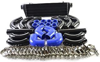 "SUNROAD 28"" x 7"" x 2.5"" Universal Turbo Intercooler Kit With Intercooler + 12pcs 2.5"" Blue Coupler Hoses + 12pcs Piping + 24pcs T-Bolt Clamps Black"
