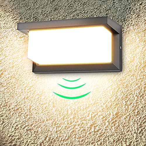LEDMO 18W Applique Murale extérieure LED avec détecteur de Mouvement Moderne Étanche Applique extérieure 3000K Blanc Chaud LED Lampe Applique IP65 étanche 1260lm