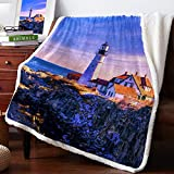 CyCoShower Plush Sherpa Fleece Throw Blanket Lighthouse of Portland at Cape Elizabeth Warm Cozy Blanket,Soft Fuzzy Reversible Lightweight Blanket for Couch,Sofa and Bed 50x60 inch